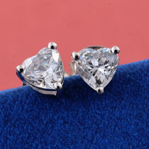 J Francis - 9K W Gold (Hrt) Stud Earrings (with Push Back) Made with SWAROVSKI ZIRCONIA