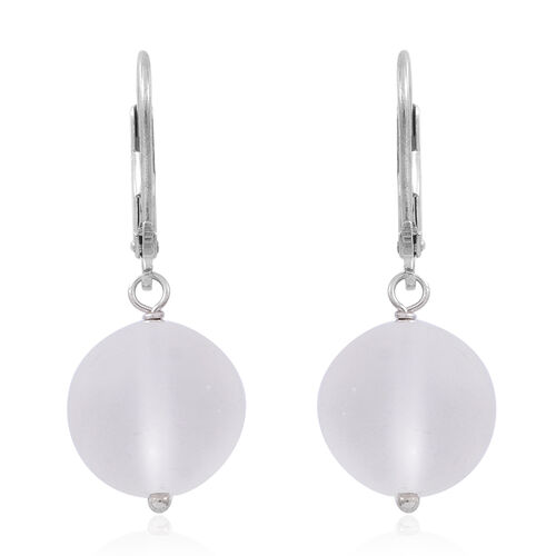 Super Bargain Price-Ice Quartz (Rnd) Lever Back Earrings in Rhodium Plated Sterling Silver 24.000 Ct.