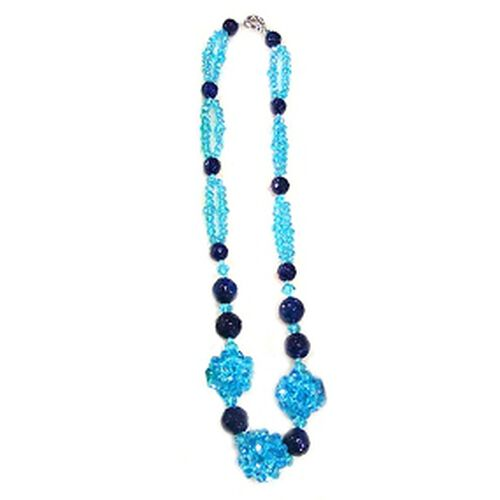 Enhanced Blue Agate, Blue Glass Necklace (Size 24) in Silver Tone 200.00 Ct.