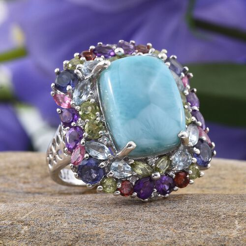 GP Larimar (Cush 11.25 Ct), Iolite, Sky Blue Topaz, Amethyst, Hebei Peridot, Mozambique Garnet, Mahenge Pink Spinel and Multi Gem Stone Ring in Platinum Overlay Sterling Silver 17.000 Ct.