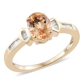 Limtied Edition- 9K Y Gold AAA Imperial Topaz (Ovl 1.38 Ct), Diamond Ring 1.500 Ct.