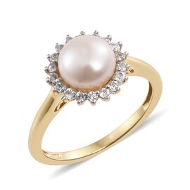 Fresh Water Pearl (Rnd 8mm), White Topaz Ring in 14K Gold Overlay Sterling Silver