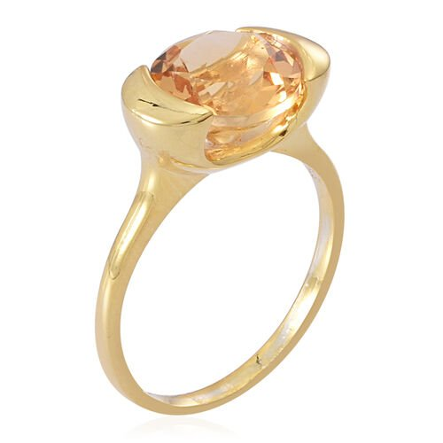 Citrine (Rnd) Solitaire Ring in 14K Gold Overlay Sterling Silver 3.500 Ct.