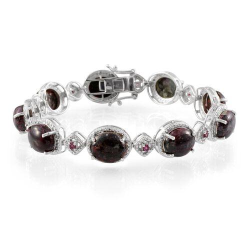Russian Eudialyte (25.00 Ct),Rhodolite Garnet and Diamond Sterling Silver Bracelet (Size 7.5)  25.550  Ct.