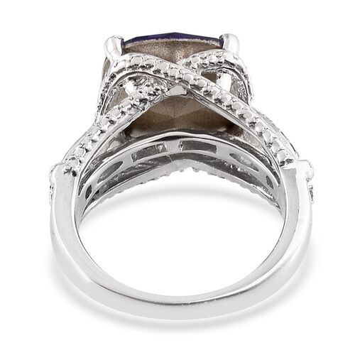 Crystal from Swarovski - Tanzanite Colour Crystal (Cush) Solitaire Ring in ION Plated Platinum Bond 5.250 Ct.