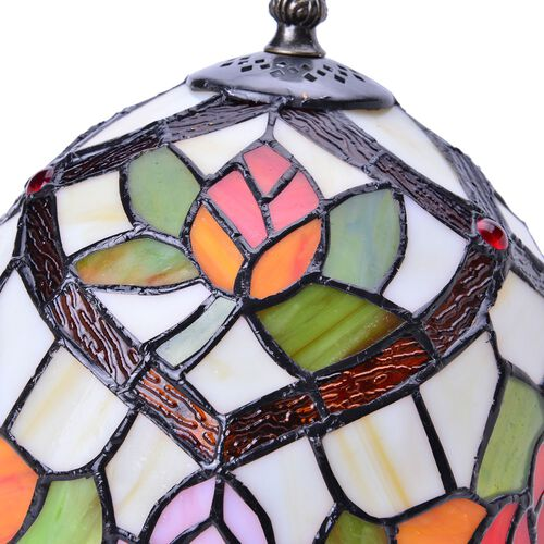 Limited Edition - Tiffany Style Table Lamp with Stained Glass Green, White and Multi Colour Red Colour Stones