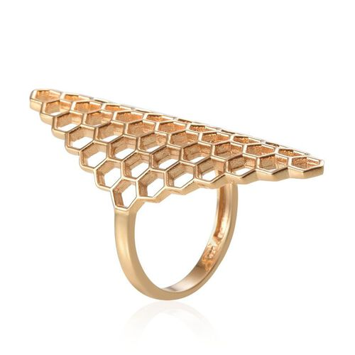 14K Gold Overlay Sterling Silver Honey Comb Ring, Silver wt 5.37 Gms.