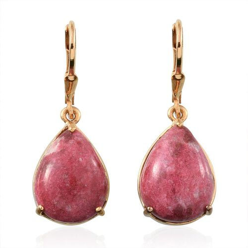 Norwegian Thulite (Pear) Lever Back Earrings in 14K Gold Overlay Sterling Silver 18.000 Ct.