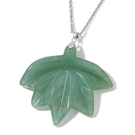 Autumn Special - Hand Carved Green Aventurine Maple Leaf Pendant With Chain (Size 24) in Rhodium Plated Sterling Silver and Stainless Steel 188.500 Ct.