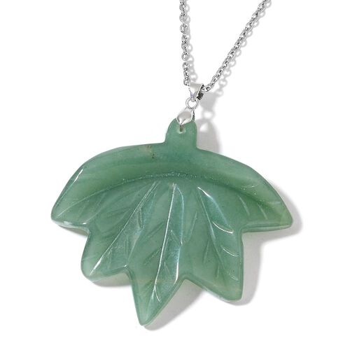 Hand Carved Green Aventurine Maple Leaf Pendant With Chain (Size 24) in Rhodium Plated Sterling Silver and Stainless Steel 188.500 Ct.