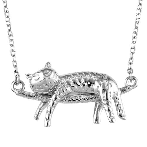 Platinum Overlay Sterling Silver Cat Necklace (Size 18), Silver wt 5.94 Gms.