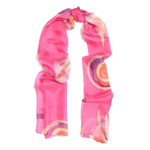 New For Season- 100% Mulberry Silk Hot Pink, Purple and Multi Colour Handscreen Printed Scarf (Size 180x50 Cm)