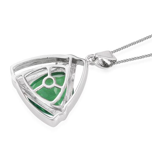 Peacock Quartz (Trl) Solitaire Pendant with Chain in Platinum Overlay Sterling Silver 5.500 Ct.