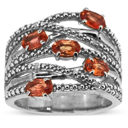 Orange Sapphire (Ovl), Diamond Criss Cross Ring in Rhodium Plated Sterling Silver 1.620 Ct.