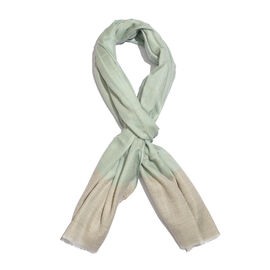 100% Cashmere Wool Linden Green and Beige Colour Scarf with Fringes (Size 200X70 Cm)