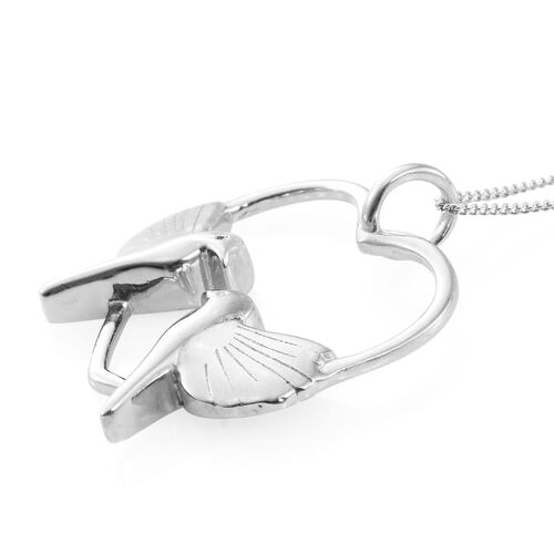 Platinum Overlay Sterling Silver Dove Birds Pendant With Chain, Silver wt 5.52 Gms.