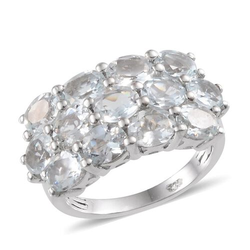 Espirito Santo Aquamarine (Ovl) Ring in Platinum Overlay Sterling Silver 3.250 Ct.