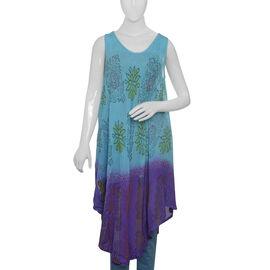Light Sky Blue, Purple and Multi Colour Flower Printed Kaftan (Free Size)