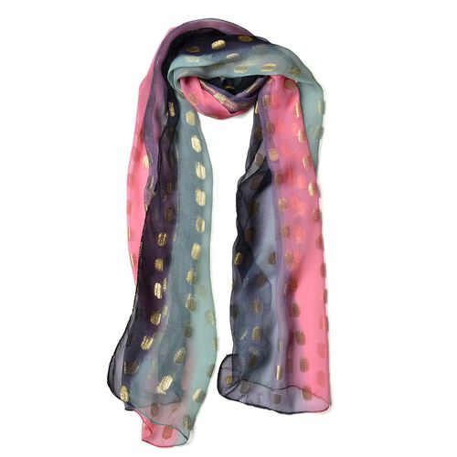 100% Mulberry Silk Golden Dot Pattern Pink, Navy and Multi Colour Scarf (Size 180X55 Cm)