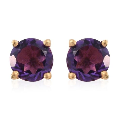 Set of 3 - Peridot, Garnet and Amethyst 3.30 Ct Silver Solitaire Stud Earrings in Gold Overlay Sterling Silver