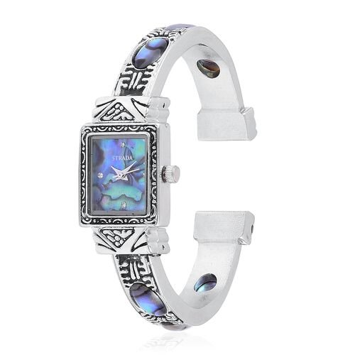 STRADA Japanese Movement Abalone Shell Dial Water Resistant Bangle Watch with White Austrian Crystal in Silver Tone