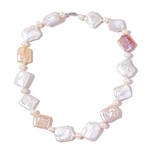 ILIANA 18K White Gold AAAA Organic Keshi Pearl and Fresh Water White Pearl Necklace (Size 18)