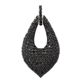 Boi Ploi Black Spinel (Rnd) Pendant in Rhodium Plated Sterling Silver 3.000 Ct. Silver wt. 6.00 Gms.