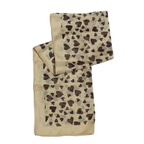 100% Silk Chocolate Colour Hearts Pattern Beige Colour Scarf (Size 170x50 Cm)