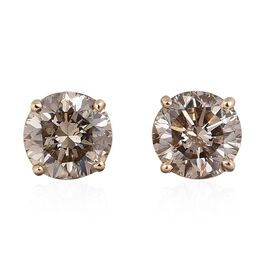 14K Yellow Gold 1.25 Carat Natural Champagne Diamond (Rnd) (I2-I3) Stud Earrings (with Push Back)