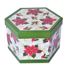 Set of 14 - White, Green and Multi Colour Floral Pattern Christmas Decoration Baubles in a Box (Size 21.5X15 Cm)