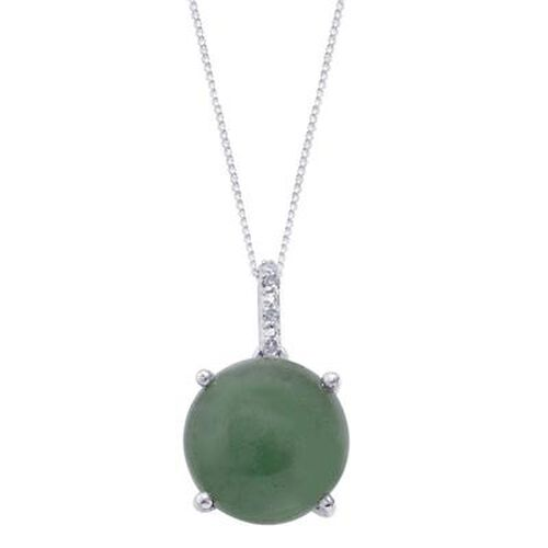 Emerald Quartz (Rnd 4.50 Ct), Diamond Pendant With Chain in Platinum Overlay Sterling Silver 4.510 Ct.