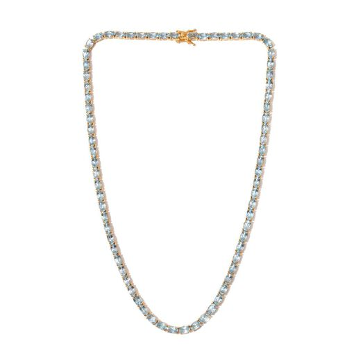 Sky Blue Topaz (Ovl) Necklace (Size 18) in 14K Gold Overlay Sterling Silver 40.000 Ct.