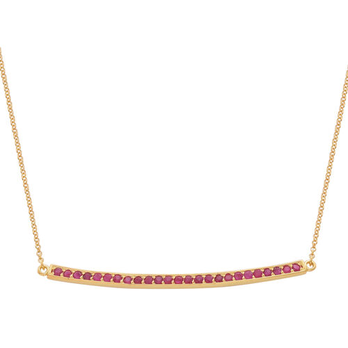 Burmese Ruby (Rnd) Necklace (Size 16) in 14K Gold Overlay Sterling Silver 2.250 Ct.