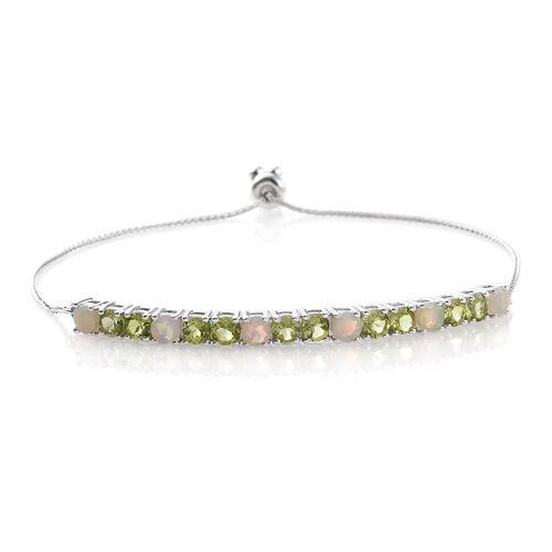 AAA Hebei Peridot (Rnd), Ethiopian Welo Opal Adjustable Bracelet (Size 6.5 to 9.0) in Platinum Overlay Sterling Silver 4.000 Ct.