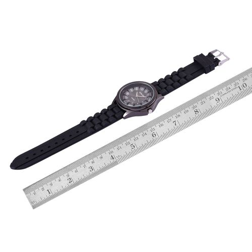 STRADA Japanese Movement Black Colour Dial Water Resistant Watch in Silver Tone with Stainless Steel Back and Black Colour Silicone Strap
