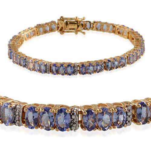 AA Tanzanite (Ovl), Diamond Bracelet in 14K Gold Overlay Sterling Silver (Size 7) 11.580 Ct.