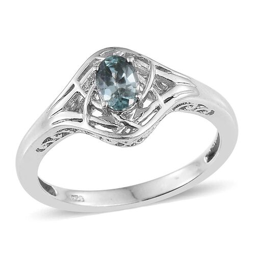 AA Natural Cambodian Blue Zircon (Ovl) Solitaire Ring in Platinum Overlay Sterling Silver 1.000 Ct.