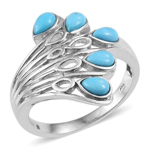 Kingman Turquoise (Pear) 5 Stone Ring in Platinum Overlay Sterling Silver 1.250 Ct.