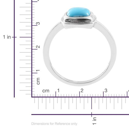 Arizona Sleeping Beauty Turquoise (Cush) Solitaire Ring in Platinum Overlay Sterling Silver 2.000 Ct.