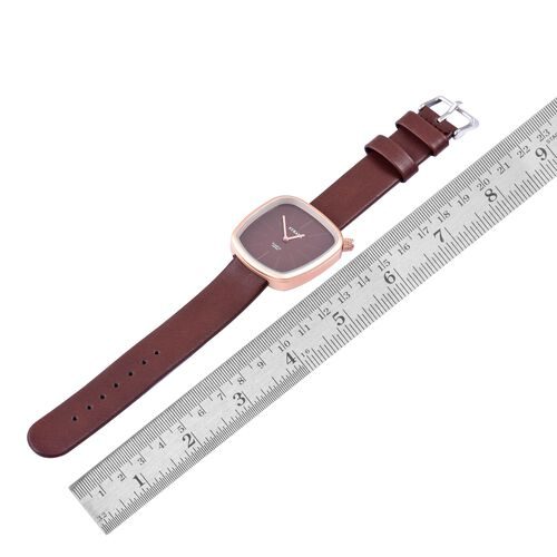STRADA Japanese Movement Water Resistant Watch in Champagne Gold Tone with Stainless Steel Back and Chocolate Colour Strap
