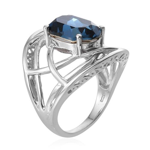 Crystal from Swarovski - Montana Crystal (Ovl) Solitaire Ring in Platinum Overlay Sterling Silver 5.250 Ct.