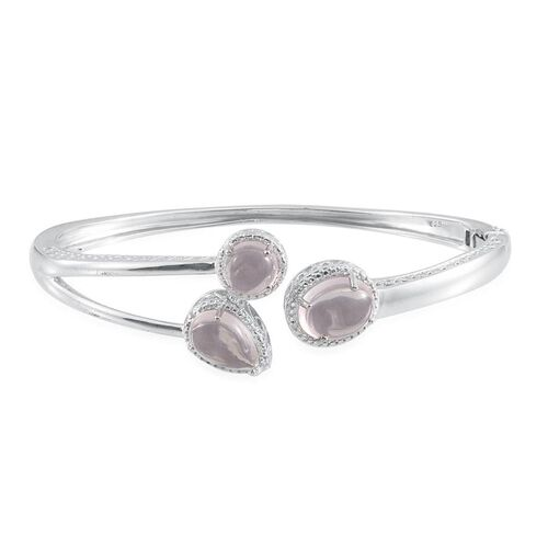 Rose Quartz (Ovl 4.75 Ct), Diamond Bangle (Size 7.5) in Platinum Overlay Sterling Silver 10.020 Ct.