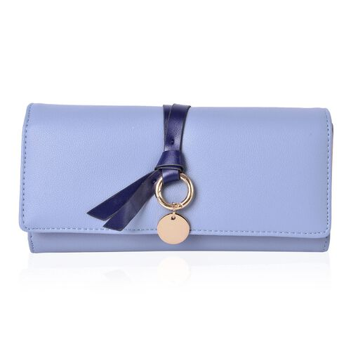 Sky Blue Trifold Knot Charm Purse with Multiple Card Slots (Size 19X9X3 Cm)