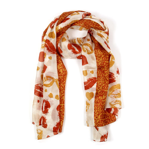 100% Mulberry Silk Burnt Orange and Multi Colour Lips Pattern Scarf (Size 180x100 Cm)