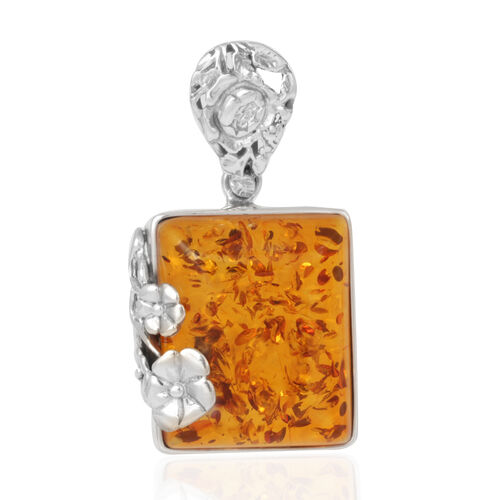 Limited Edition - Rare Cut Tucson Collection Baltic Amber Pendant in Rhodium Plated Sterling Silver 35.000 Ct.