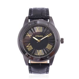 STRADA Japanese Movement Roman Numeral Dial Water Resistant Watch in Black Tone with Stainless Steel Back and Black Colour Strap