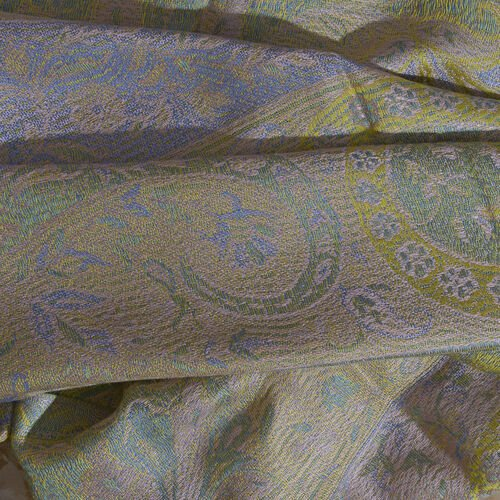 Green, Pink and Multi Colour Paisley and Floral Pattern Jacquard Scarf with Tassels (Size 180X70 Cm)