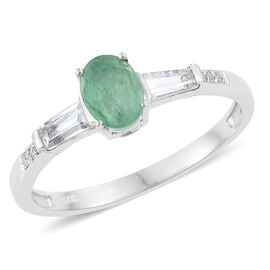 Kagem Zambian Emerald (Ovl 0.75 Ct), White Topaz Ring in Platinum Overlay Sterling Silver 1.180 Ct.