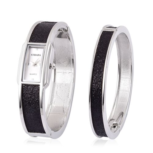STRADA Japanese Movement White Dial Water Resistant Watch and Bangle (Size 7.5) with Black Stardust and Silver Tone Strap