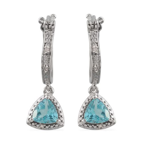 Paraibe Apatite (Trl), Diamond Hoop Earrings in Platinum Overlay Sterling Silver 0.780 Ct.